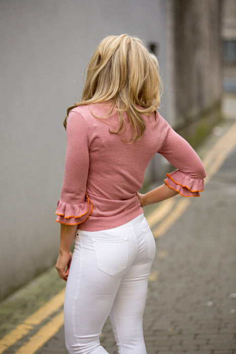 Pink Frill Sleeve Knit Top - Lutsia Boutique