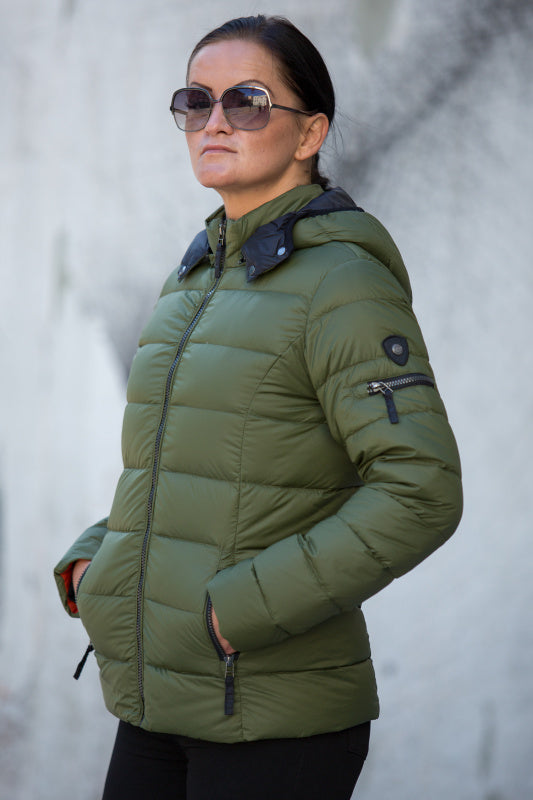 C-Ro Etage Quilted Down Jacket, Green - Lutsia Boutique