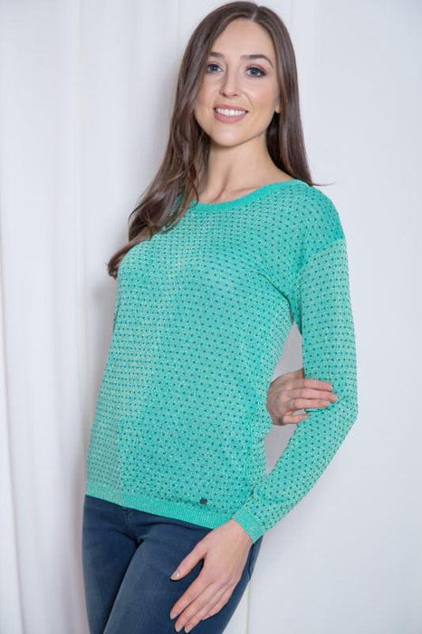 Green Metallic Jumper - Lutsia Boutique