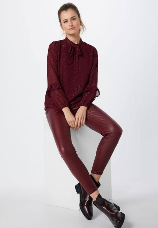 Wine Faux Leather Jeggings