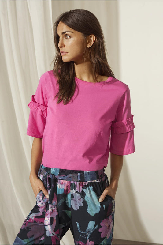 Vicky Cotton Jersey Fuschia T-Shirt - Lutsia Boutique
