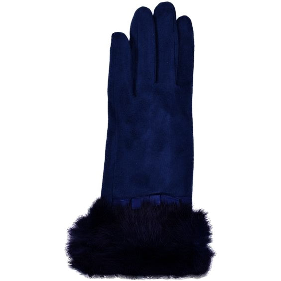 Ladies Faux Suede & Real Fur Trim Gloves, Petrol Blue - Lutsia Boutique