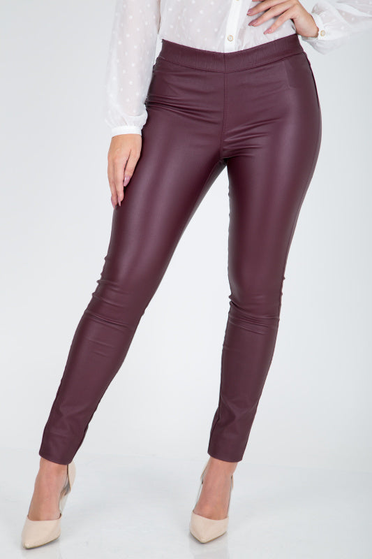 Wine Faux Leather Jeggings - Lutsia Boutique