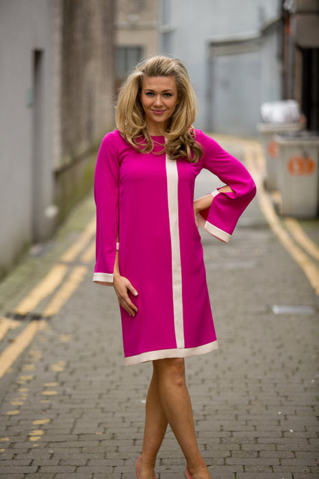 Long Sleeve Fuchsia Pink Milan Dress - Lutsia Boutique