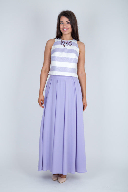 Lilac Pleated Maxi Skirt - Lutsia Boutique