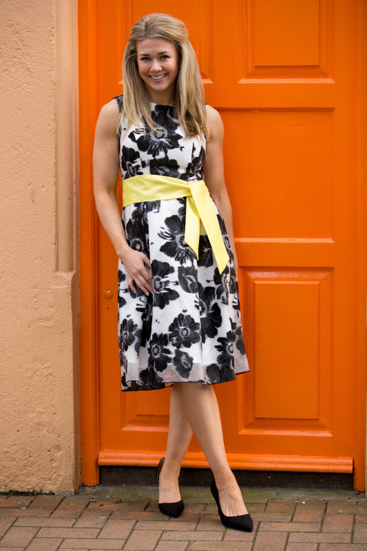Momochrome Floral Print Fit and Flare Dress