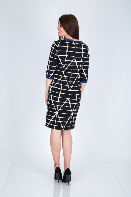 Monochrome Print Shanghai Dress - Lutsia Boutique