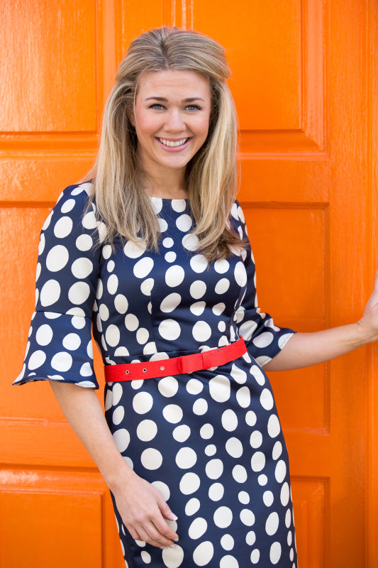 Navy Polka Dot Dress - Lutsia Boutique