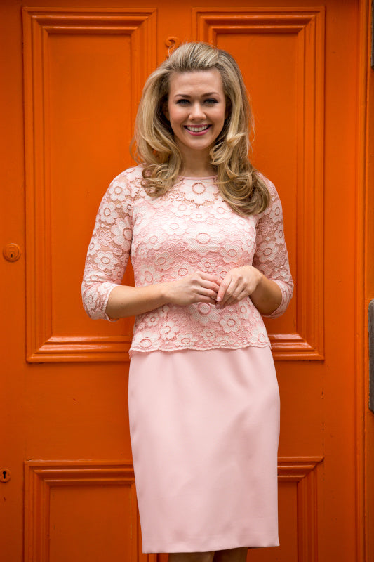 Pink Lace Pencil Dress - Lutsia Boutique