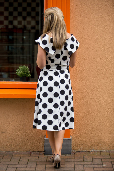 Nala Polka Dot Fit and Flare Dress - Lutsia Boutique