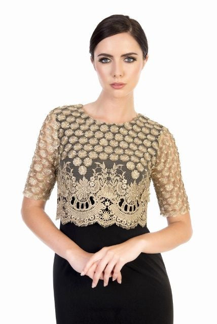 41bd43c86d78 Gold Lace Overlay Dara Dress