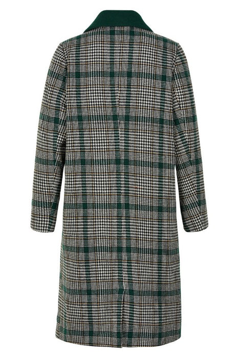 Green Check Double Breasted Maxi Coat - Lutsia Boutique