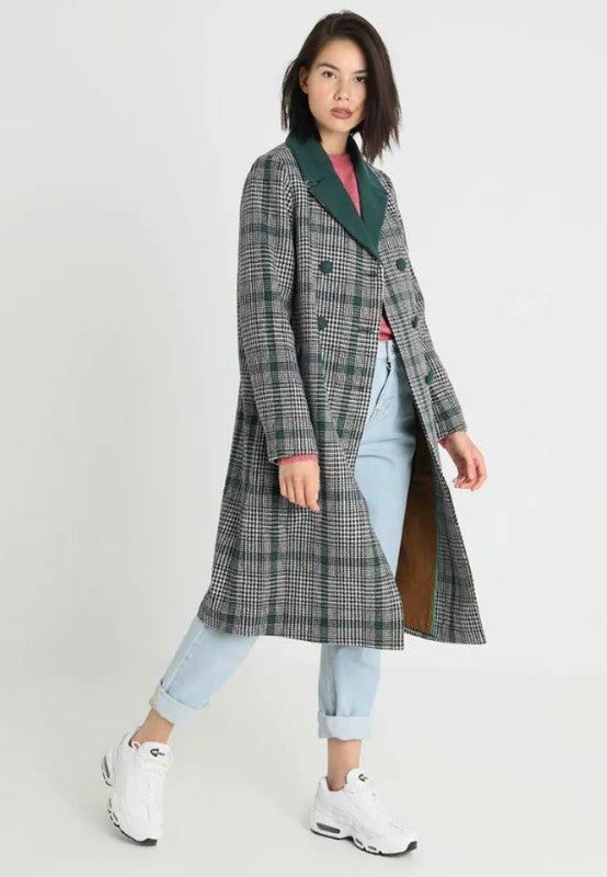 Green Check Double Breasted Maxi Coat
