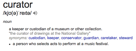 CURATOR Dictionary definition