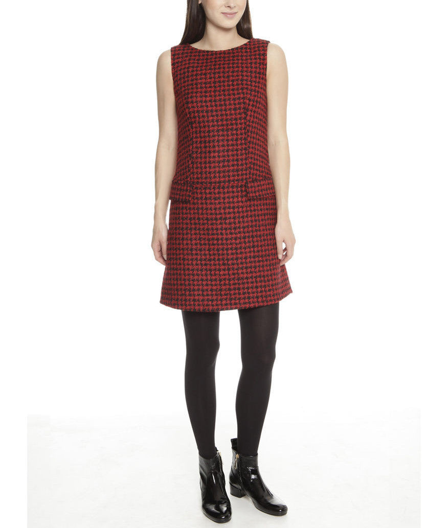 c3955debaa75 Red Houndstooth Sleeveless Boucle Dress - CURATORZ