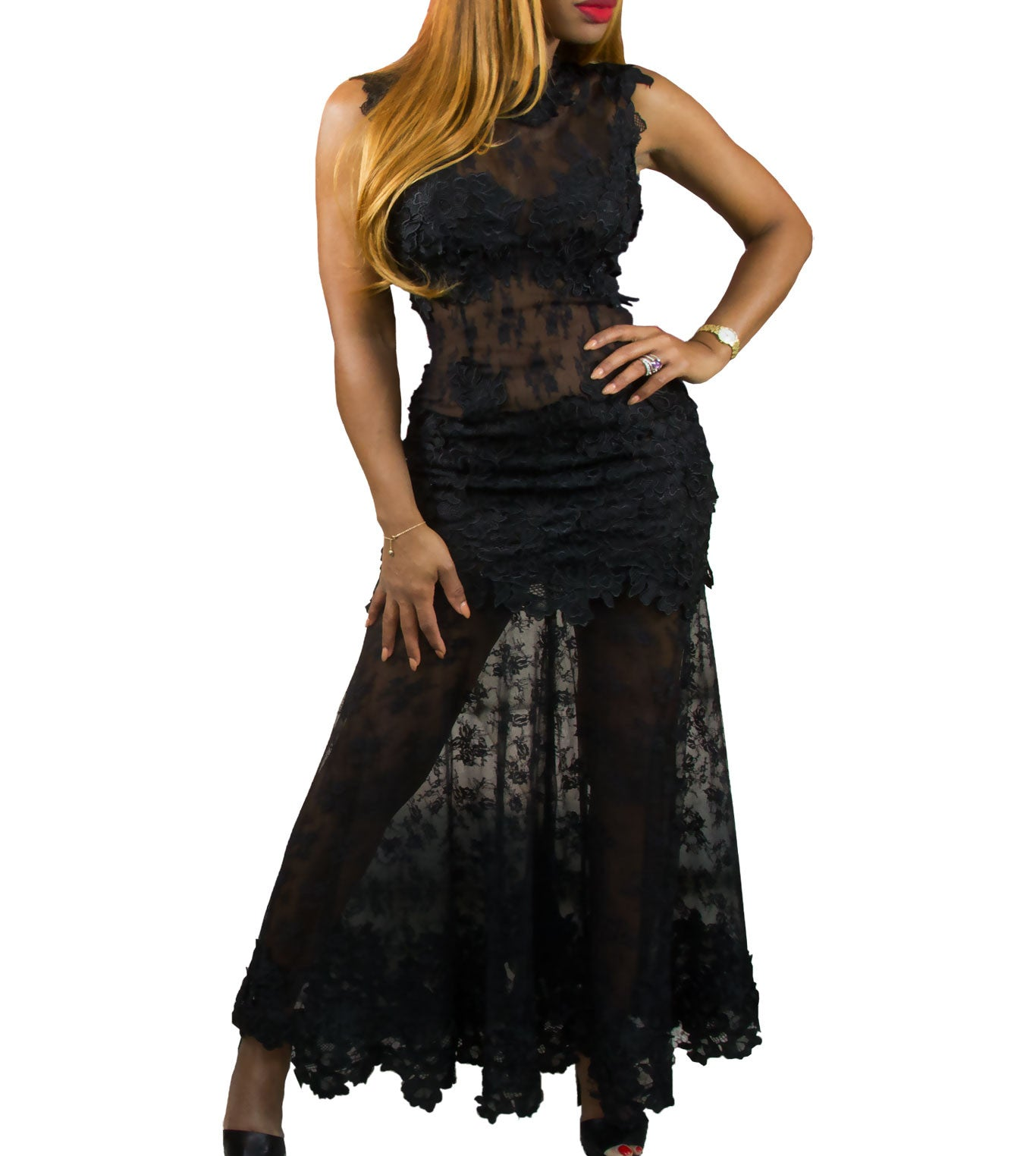 0499a0d177b5 Black Sheer Lace Gown