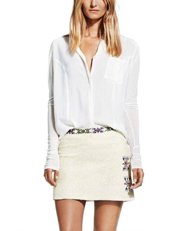 dc5c9cfc63 White Beaded Skirt with Aztec Details - CURATORZ