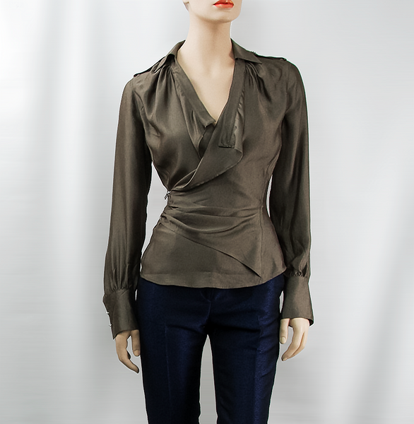 2f2597c20 Dark Bronze Wrap Blouse - CURATORZ