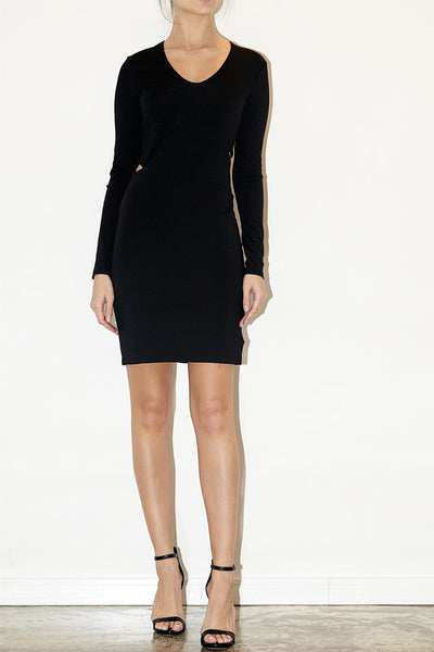 Lux ponte long sleeve slit dress