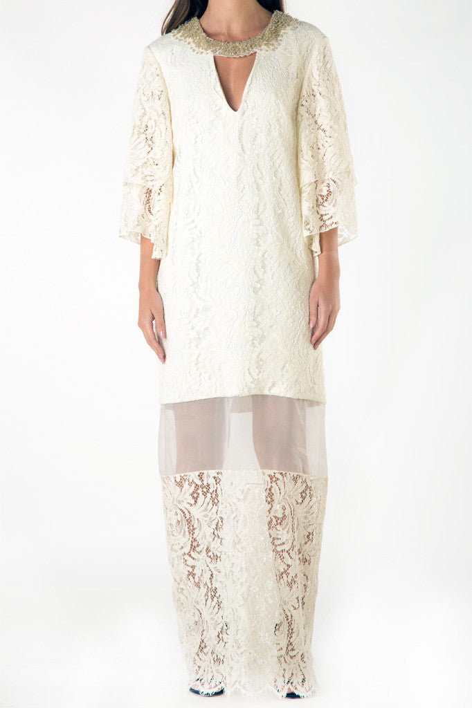 White Khaki Lace Dress