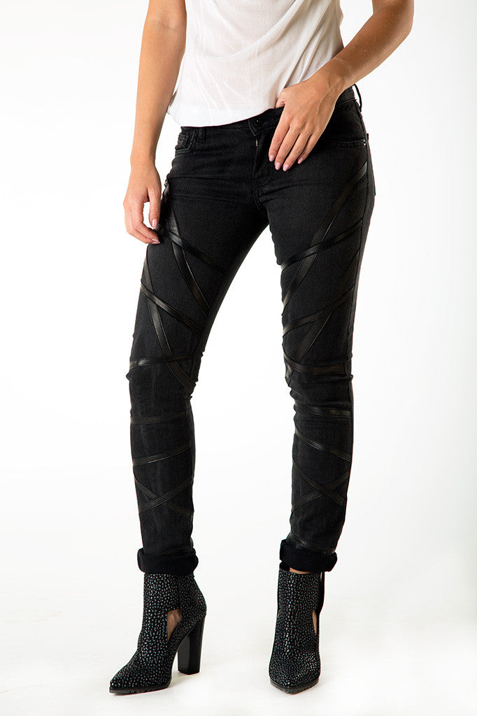 Woven Black Jeans With Leather