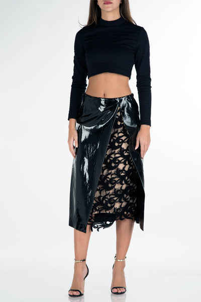 Long skirt with split lace