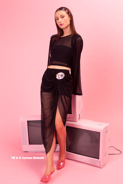 Mesh wrap skirt with patch