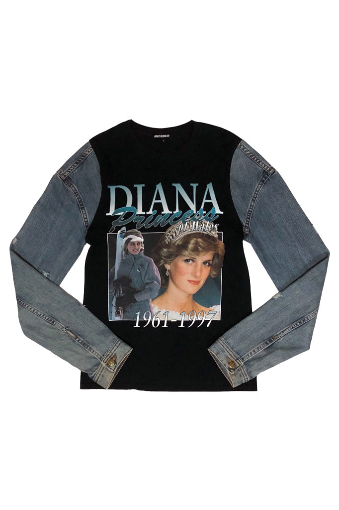 Princess Diana Denim sleeve T-shirt