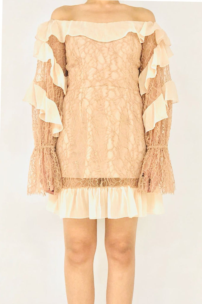 Lace Mini Dress with Ruffle