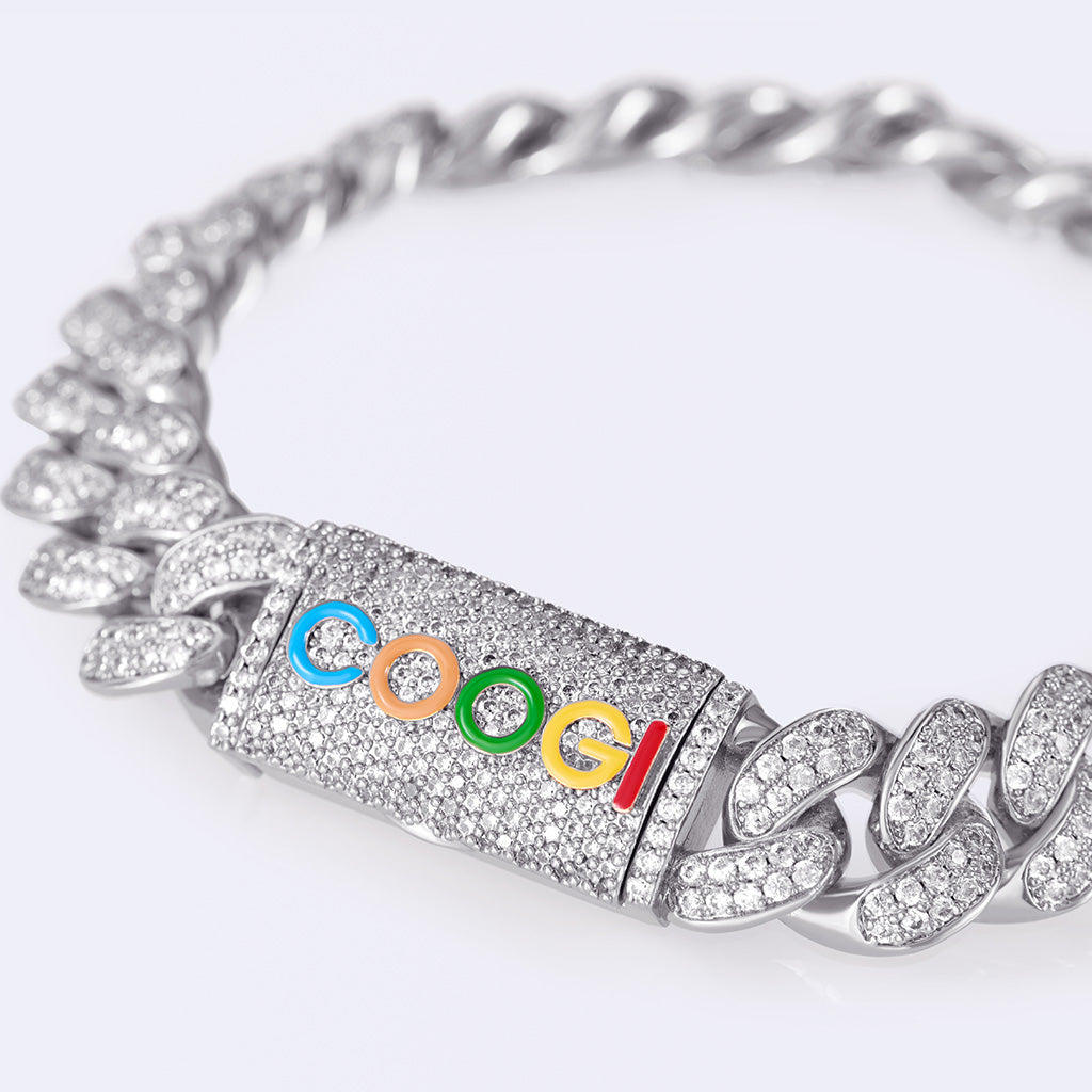 COOGI X Aporro Basic Cuban Link Bracelet, Ltd Ed - White Gold
