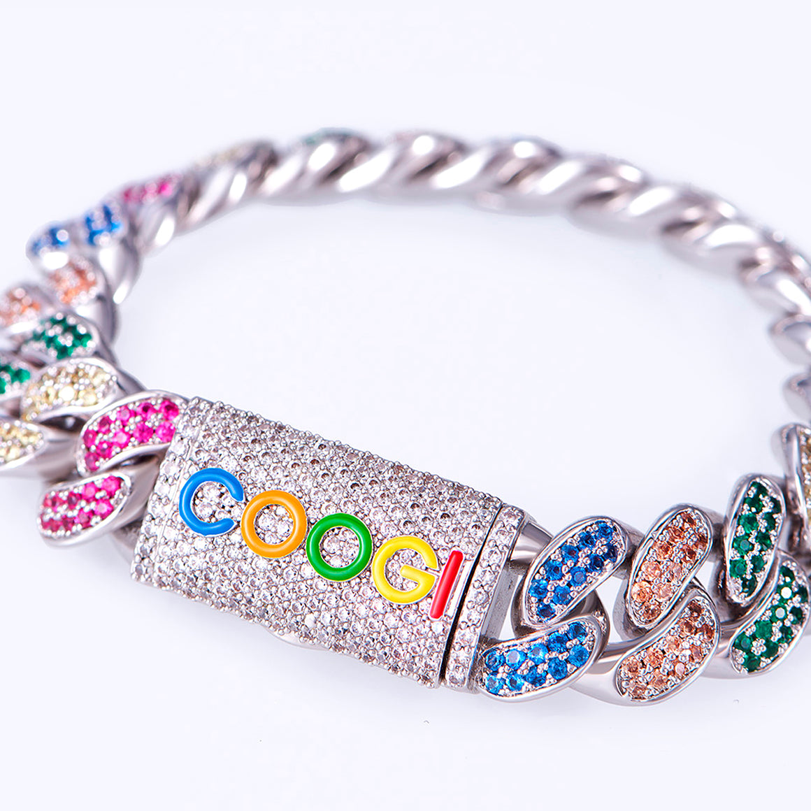 COOGI X Aporro Beating Cuban Link Bracelet, Ltd Ed - White Gold