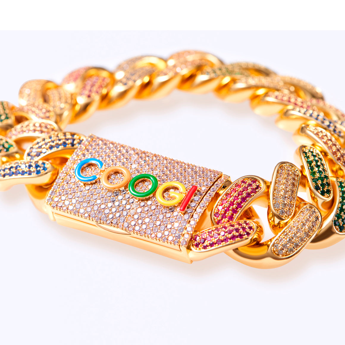 COOGI X Aporro Beating Cuban Link Bracelet, Ltd Ed - Heavy - Yellow Gold