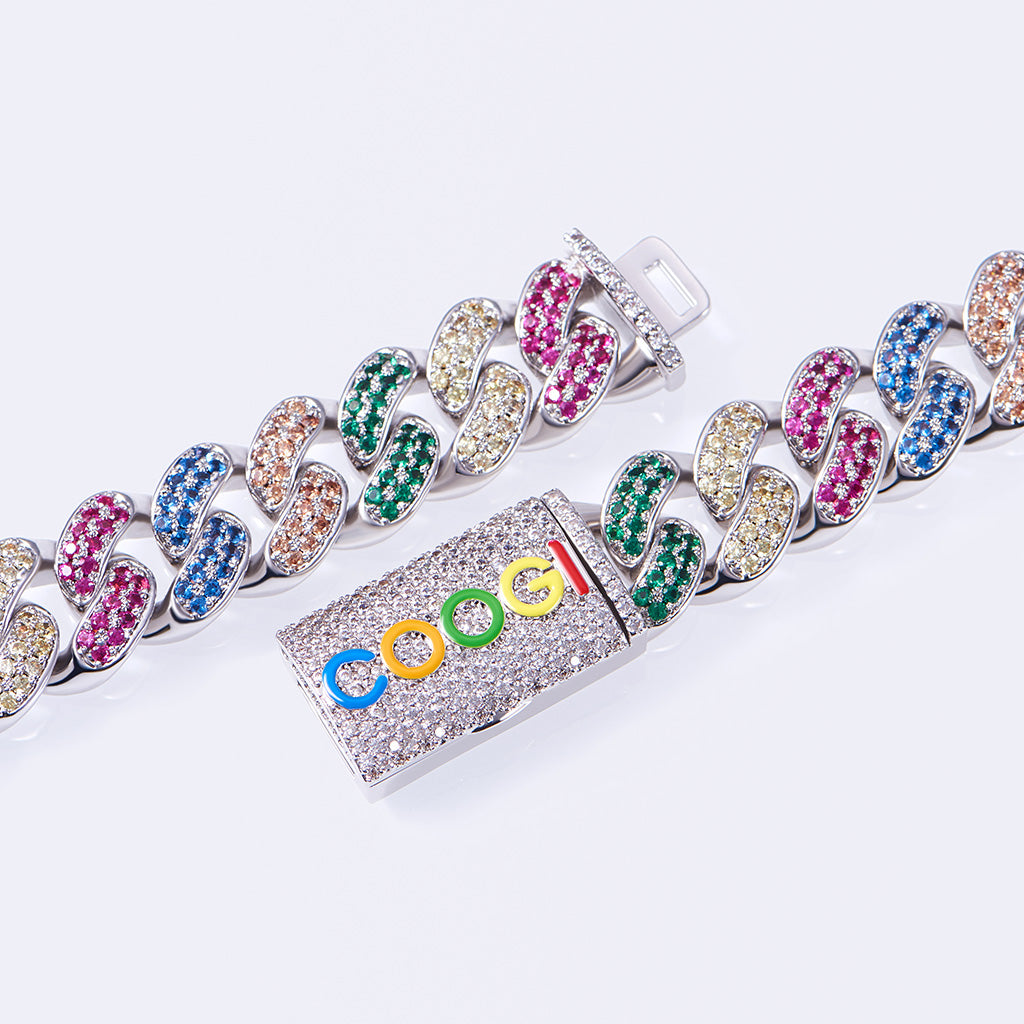 COOGI X Aporro Beating Cuban Link Chain, Ltd Ed - White Gold