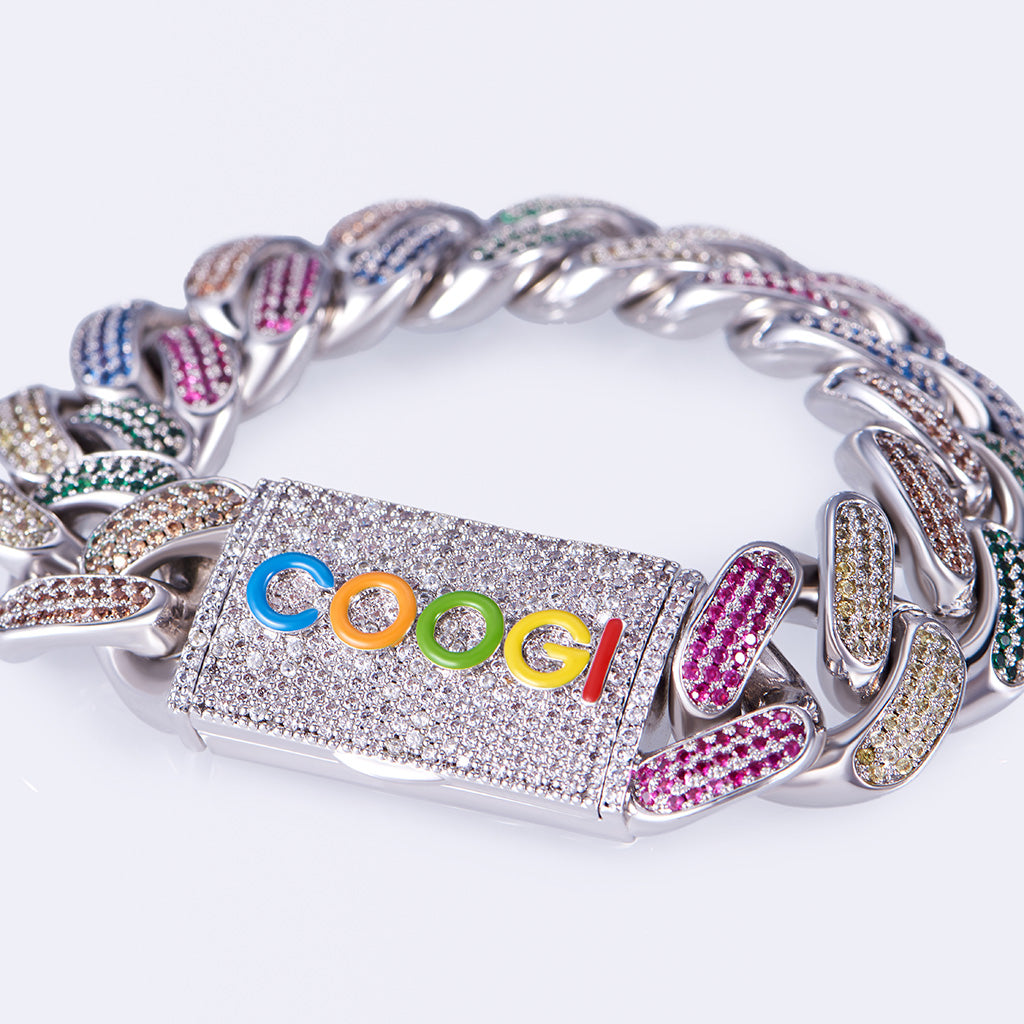 COOGI X Aporro Beating Cuban Link Bracelet, Ltd Ed - Heavy - White Gold