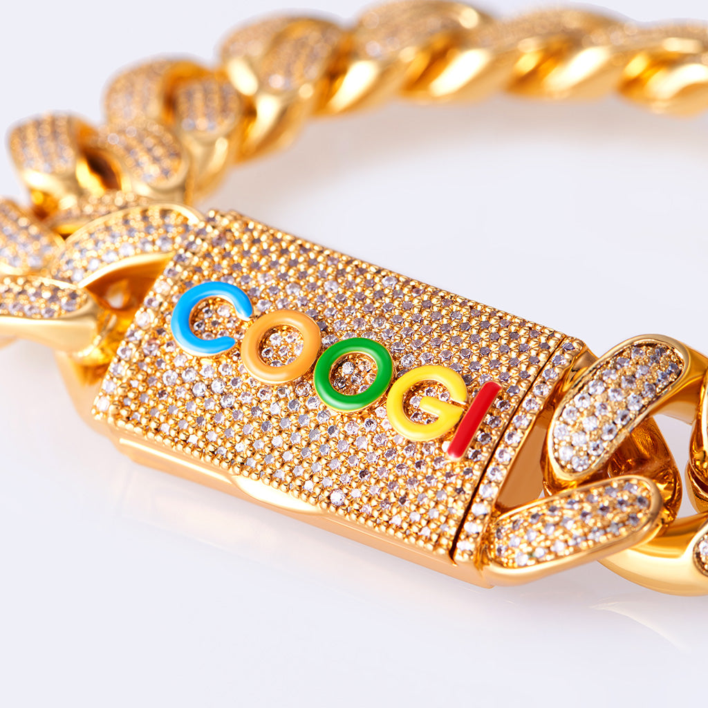 COOGI X Aporro Basic Cuban Link Bracelet, Ltd Ed - Heavy - Yellow Gold