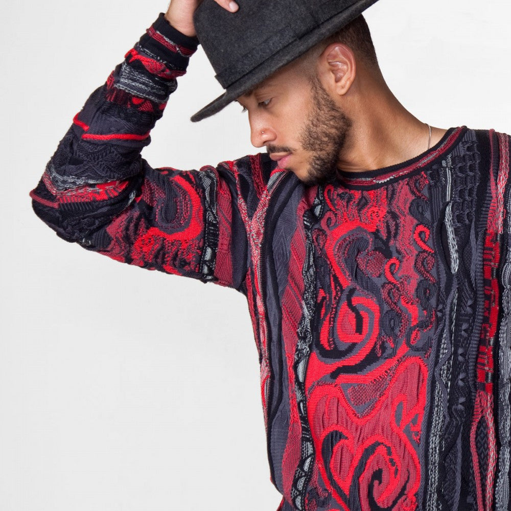 COOGI CLASSIC CREWNECK IN BLACK & RED