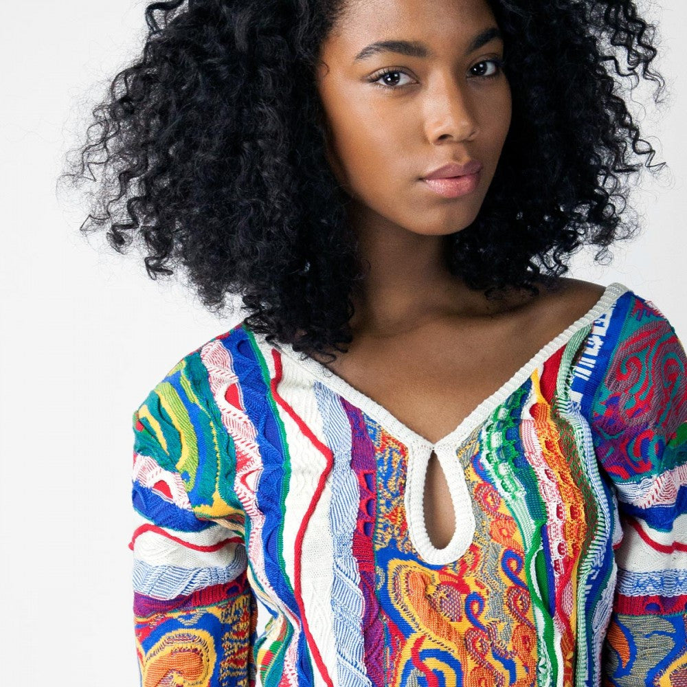 COOGI CLASSIC LACE BACK SWEATER DRESS
