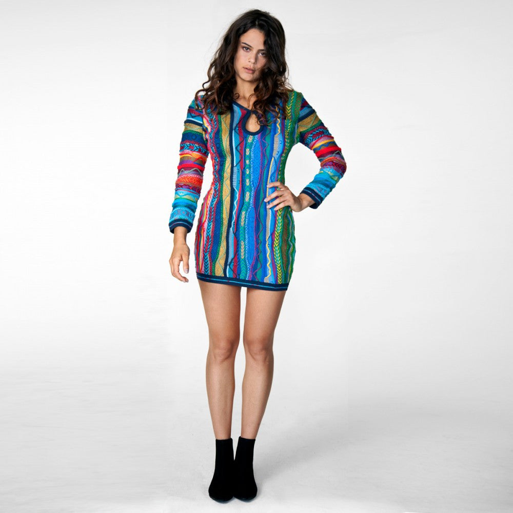 COOGI NEW NATIVE LACE BACK SWEATER DRESS