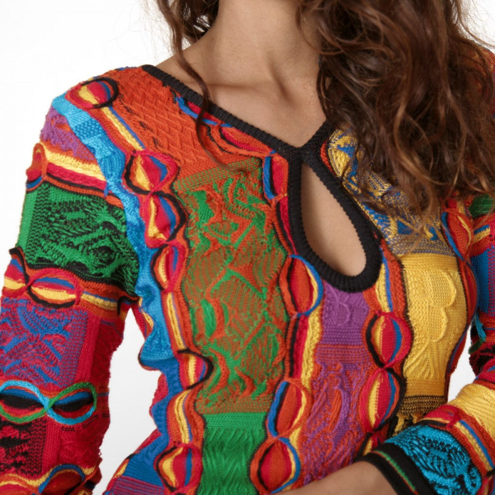 COOGI BRIGHT PATCHWORK LACE BACK DRESS
