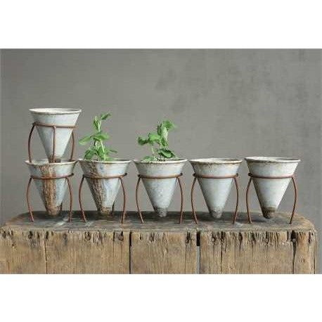 Set of Tin Cone Pots
