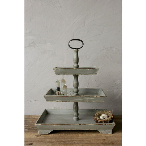 Tall Gray Three Tiered Tray