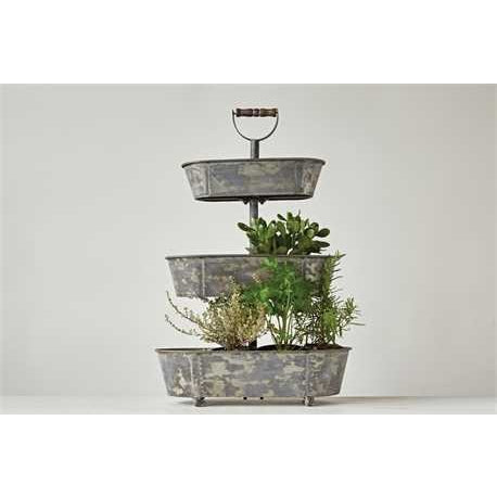 Large Three Tiered Metal Tray