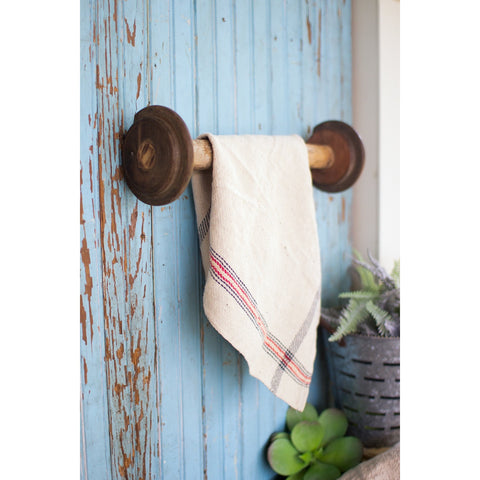 Vintage Wooden Spool Towel Rack