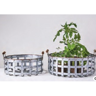 Set of Metal Baskets with Handles