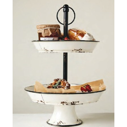 Enamel Two Tiered Tray