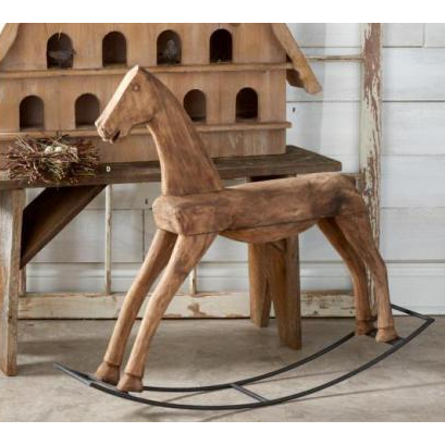 Brown Antique Wood Rocking Horse