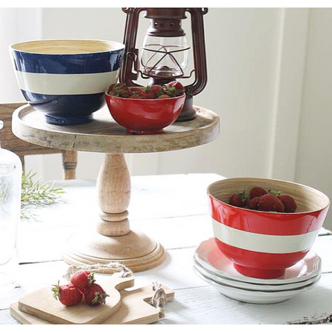 Set of Red & Blue Striped Bowls