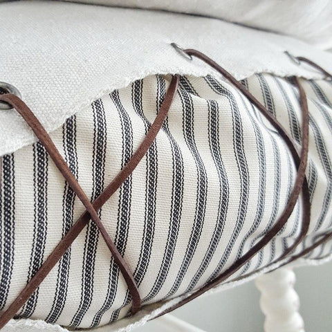 Lace Up Ticking Pillow Cover