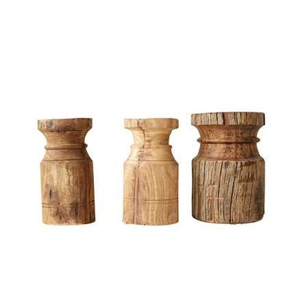 FOUND Carved Wood Pillars - Set of 3