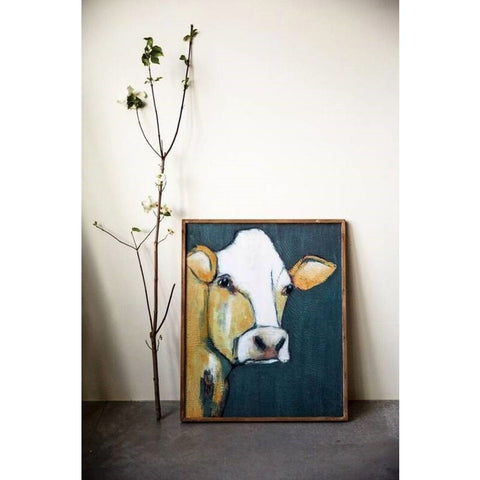 Extra Large Framed Cow Canvas